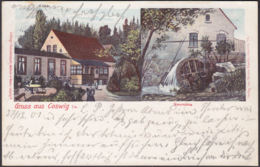 AK Gruss Aus Coswig Neumühle Bahnpost, Gelaufen 1901 - Coswig