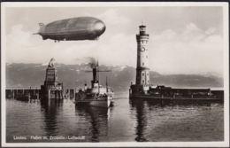 AK Lindau Hafen Mit Zeppelin, Gelaufen - Lindau A. Bodensee