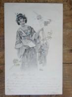 CPA Illustrateur Bottaro - Femme (Chinoise Japonnaise ?) Tenant Deux Enfants Par Les Bretelles ? - Bottaro