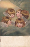 HEADS OF ANGELS, SIR JOSHUA REYNOLDS. ART POSTCARD CIRCA 1900's, NOT CIRCULATED -LILHU - Angeles