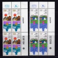 ISRAEL, 1979, Cylinder Corner Blocks Stamps, (No Tab), Health Resorts, SGnr(s). 760-761 X1082 - Israel
