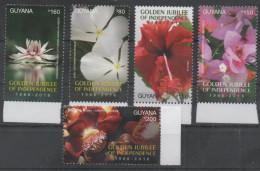 GUYANA, 2016, MNH,GOLDEN JUBILEE OF INDEPENDENCE,FLOWERS, HIBISCUS, AZALEAS,  5v - Plants
