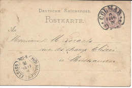 "COLMAR 1876 Cachet ""FER A CHEVAL"" Pour MÜHLHAUSEN ELSASS ""FER A CHEVAL"" Hufeisen Entier Postal Deutsche Reichpost - Marcophilie (Lettres)"