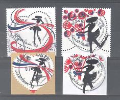 France Oblitérés : Les 4 Timbres Du Coeur De Guerlain (2 Gommés Et 2 Adhésifs) (cachet Rond) - Francia