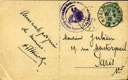 CARTE POSTALE Allemande Occupation Française 1926 POSTE AUX ARMEES 22 15c Semeuse Lignée Type 4 Cachat Militaire TREVES - Marcofilie (Brieven)