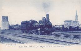 THEME GARE  Avec Train  *Ste PAZANNE  * L'Eglise Vue De La Sortiede La Gare - Stazioni Con Treni