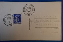 A57 FRANCE CARTE 1939 CAMPS DE SEPTFONDS REFUGIES ESPAGNOLS - France