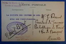 A58 FRANCE CARTE 1944  SOCIETE DES OEUVRES DE MER + CACHETS BLEUS ET ROUGES POUR MARSEILLE - France