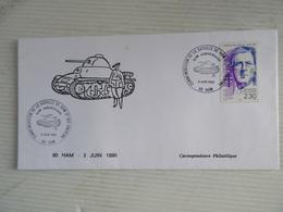 LETTRE 80 HAM COMMEMORATION DE LA BATAILLE DE HAM ET SES ENVIRONS TIMBRE CHARLES DE GAULLE 3 JUIN 1990 TBE - Militaria