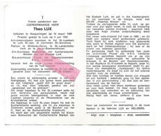 P 918. Z.E.H. THEO LUX - °HOEPERTINGEN 1906 / +HASSELT 1985 - Joodse Onderscheiding V.d. Yad Vashem-ZONHOVEN/LUIK - Images Religieuses