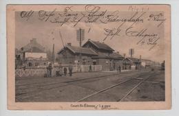 CBPN123/ CP Court St-Etienne La Gare Animée Guerre 14/18 Marque De Bataillon - Court-Saint-Etienne