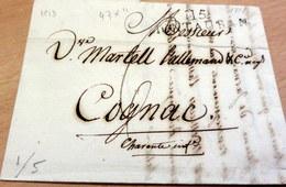 LAC, Marque Linéaire 115 MONTAUBAN (Tarn Et Garonne) 47x11 Pour Cognac (Charente Maritime), 24 Juillet 1813 (B42-L8) - Marcophilie (Lettres)