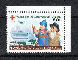 Korea Nord  -  2002. Croce Rossa Per Bimbi E Anziani. Ambulanza Elicottero.Red Cross For Children And The Elderly.MNH - Rotes Kreuz