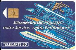 CARTE-PUCE-PRIVEE-PUBLIC- 50U-EN496-GEMA-12/92-SILICONES R.P-V° SérieA-R° Glacé--Utilisé-TBE-LUXE - France