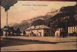 Cpa, SALLANCHES, Place Charles-Albert, éd Mme Couttet, Tabac, écrite En 1908 - Sallanches