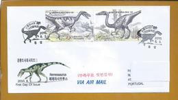 Dinosaurs. Dinosauri. Dinosaurer. Dinosaurier. Rare Circulated Letter Korea Stamps Herrerasaurus And Coelophysis. 2sc - Préhistoire