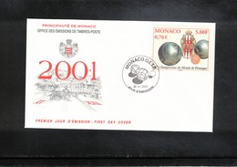 Monaco 2001 World Petanque Championship FDC - Boule/Pétanque