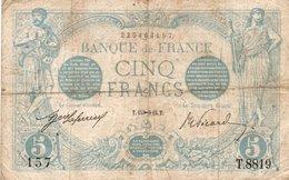 FRANCIA 5 FRANCS 1915  P-70a.4  CIRCOLATED - 1871-1952 Circulated During XXth