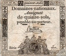 FRANCIA  ASSIGNAT 15 SOLS 1792 P-A54  SERIE 777 - ...-1889 Francos Ancianos Circulantes Durante XIXesimo