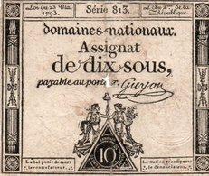 FRANCIA  ASSIGNAT 10 SOLS 1793 P-A68 - ...-1889 Tijdens De XIXde In Omloop