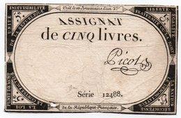FRANCIA  ASSIGNAT 5 LIVRES 1793 P-A-76 - ...-1889 Francos Ancianos Circulantes Durante XIXesimo