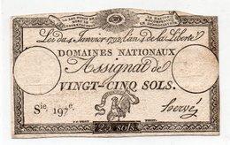 FRANCIA  ASSIGNAT 25 SOLS 1792 P-A-55 - ...-1889 Anciens Francs Circulés Au XIXème