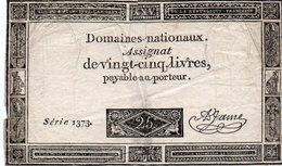 FRANCIA  ASSIGNAT 25 SOLS 1793 P-A-71 - ...-1889 Anciens Francs Circulés Au XIXème