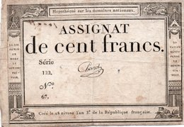 FRANCIA  ASSIGNAT 100 FRANCS 1795 P-A 78 - ...-1889 Anciens Francs Circulés Au XIXème