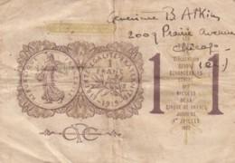France Chambre De Commerce De Paris 1 Franc C1919-1922 Banknote - Handelskammer