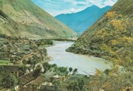 China Szechuan Iron Chain Bridge, Village On River In Valley C1980s Vintage Postcard - China