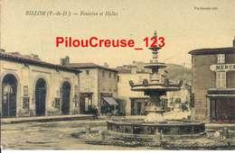 """63 Puy De Dôme - BILLOM - """" La Fontaine, Les Halles - Magasin Casino """" - Autres Communes"""