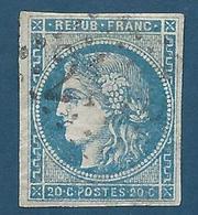 FRANCE - 1870 - Cérès - YT N°45A Type II Report 1 - 20 C. Bleu - Oblitéré Losange GC - Belles Marges - TB Etat - 1870 Emission De Bordeaux