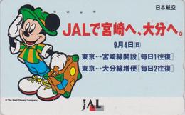 TC JAPON  / 110-159451 - DISNEY JAL - MICKEY MOUSE En Voyage - JAPAN AIRLINES Phonecard / Avion Aviation - Disney