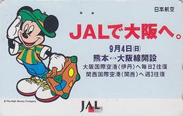 TC JAPON  / 110-159453 - DISNEY JAL - MICKEY MOUSE En Voyage - JAPAN AIRLINES Phonecard / Avion Aviation - Disney