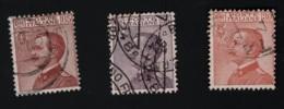1920 / 1922 Freimarken  Mi IT 133 - 135 Sn IT 102 - 05 Yt IT 106 - 08 Sg IT 106 - 08 Sas IT 127 - 29 Un IT 127 - 29 - Gebraucht