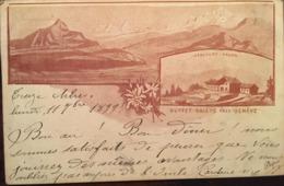 """Cpa, 1899, Buffet-Salève Près Genève, Harcourt Propr, """"multivues"""", Verso Tampon Publicité A.Hercourt Propriétaire Restau - Autres Communes"""