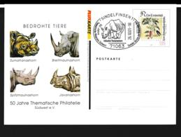 Germany Pluskarte Flowers W/print Bedrohte Tiere 2001 Used (G105-31) - Postales Privados - Usados