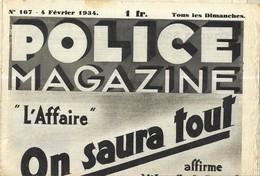 POLICE MAGAZINE 1934 - L ENLEVEMENT DE MISS MAC ELROY, LE DOUBLE CRIME DE SUEVRES, LA CAGE AU VICES, CAMILLE AYMARD... - Livres, BD, Revues