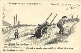 La Bresse Humoristique  On Souffle Un Coup ,on Lache Tout Et ... Cochon RV Beau Timbre 10c - Unclassified
