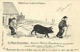 La Bresse Humoristique Le Depart Pour La Foire De St Amour  .. Cochon RV Timbre 5c Beau Cachet Chateauneuf De Galorgue V - Unclassified