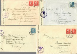 5x Covers Denmark, Odense, Silkeborg, Aarhus To Germany, British Censor 1946 - Unclassified