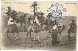 ALGERIE CARTE TAGHIT DEPART DE MEHARISTES CARTE + CACHET MILITAIRE D'OUDJA (CONFINS) MAROCAINS 1912 MAROC - Postmark Collection (Covers)