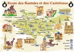 Gers - Route Des Bastides Et Des Castelnaux - Carte Géographique - Francia