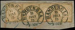 O ALL. EMPIRE - Poste - 19, Bande De 4 Sur Petit Fragment, Cachet Hambourg 21/7/73: 5g. Bistre (Michel 22) - Duitsland