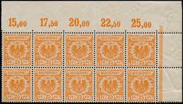 ** ALL. EMPIRE - Poste - 49, Superbe, Bloc De 10 Cdf (Bdf *): 25pf. Orange Aigle (Michel 49 D) - Duitsland