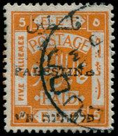 "O PALESTINE - Poste - 19AA, Erreur ""Palestino"" (0): 5m. Orange (Bale 34 O) - Palestine"