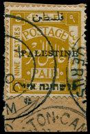 O PALESTINE - Poste - 23, Jérusalem I, Setting I, Double Impression Du Timbre (floue), Sur Petit Fragment (Bale 24 B) - Palestine