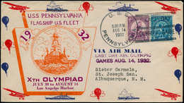 """Jeux Olympiques - Poste - USA, (1932), Env. Ill. Cachet Naval Noir: """"Uss Pennsylvania 14/8/32, Last Day Olympic Games"""" - Olympische Spelen"""