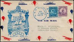 """Jeux Olympiques - Poste - USA, Enveloppe Illustrée, Cachet Bleu De Bateau: """"Uss Maryland Los Angeles Harbor, 9/8/32"""" - Olympische Spelen"""