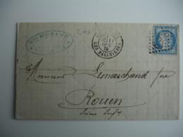 1875 Bordeaux Les Salinieres Gros Chiffre 6308 Obliteration Lettre Pour Riuen - 1849-1876: Klassieke Periode